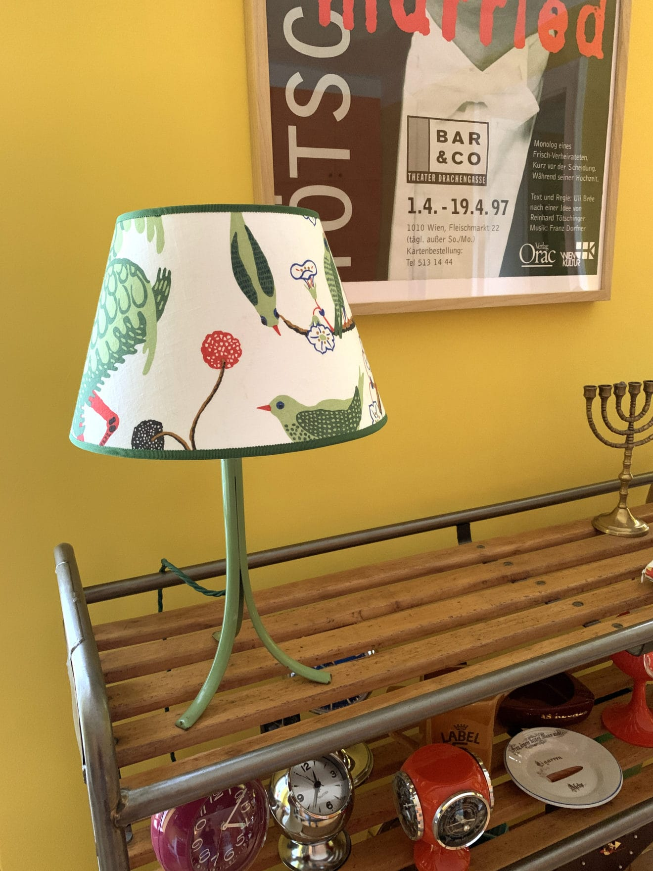 Original Tischlampe von Haus und Garten  Stoff Grüner Vogel